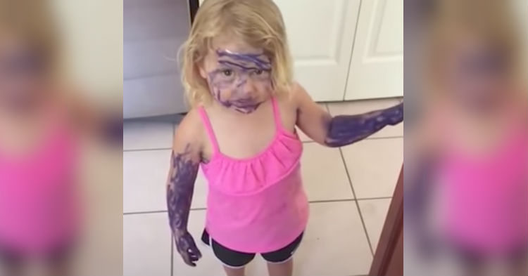Toddler's Explanation for Coloring Her Face With Purple Marker Is Taking The Internet By Storm