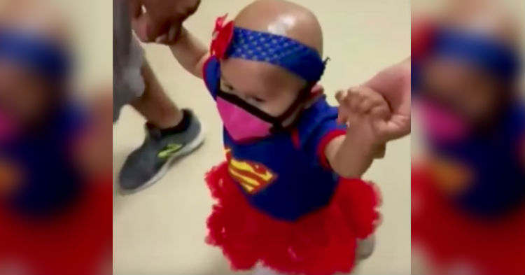 Baby Who Had Her Last Chemo Treatment Got A Superhero Send Off, Video Of It Is Going Viral