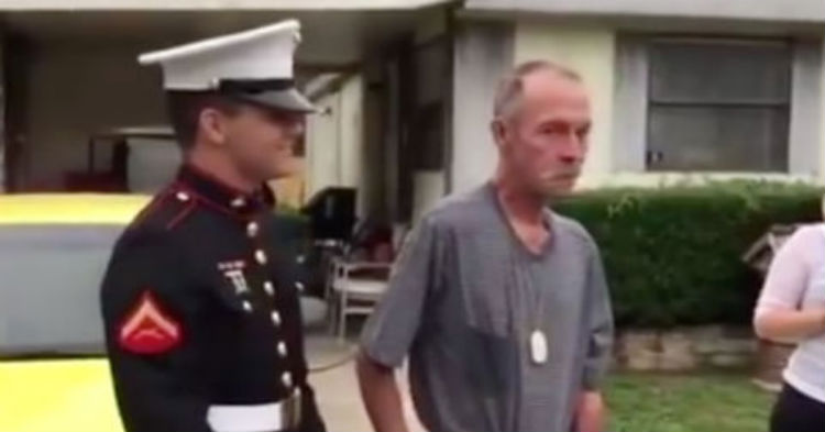 Veteran Has No Idea His Marine Grandson Is Right Behind Him, Then He Feels A Tap