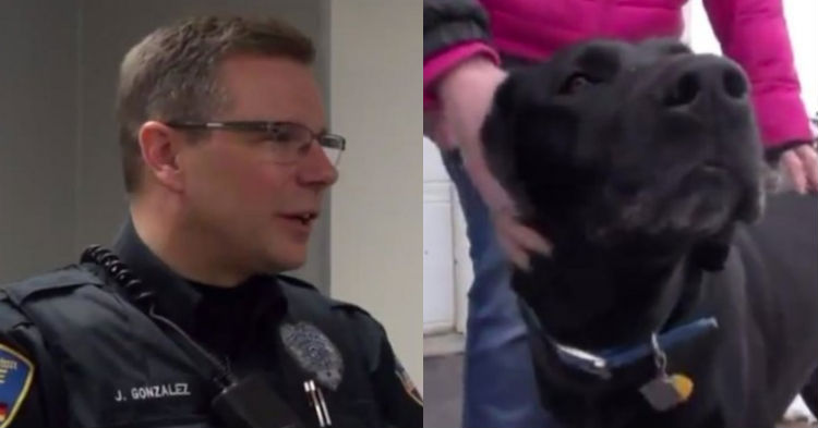 Dog Walks Up To Officer And Starts Barking Aggressively, Points Cop In The Direction To Run